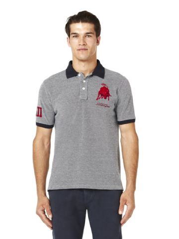 Lamborghini Men's Bull XIII Oxford Piquet polo - Denim Effect